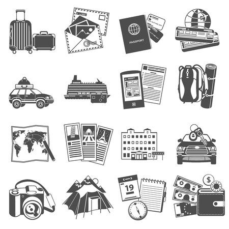 bagagli: Estate simboli di viaggio vacanza icone set di trasporto e guida visita della città mappa nero astratta illustrazione isolato