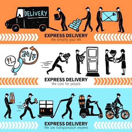 postman: Express delivery horizontal banner set with hand drawn people silhouettes isolated vector illustration Illustration