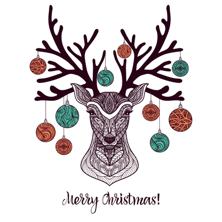 deer vector: Colored christmas deer with ornament and decoration balls on antlers vector illustration