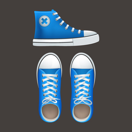 blue shoes: Teenage school boys and girls popular street wear high top sneakers chucks gumshoes  abstract isolated vector illustration Illustration