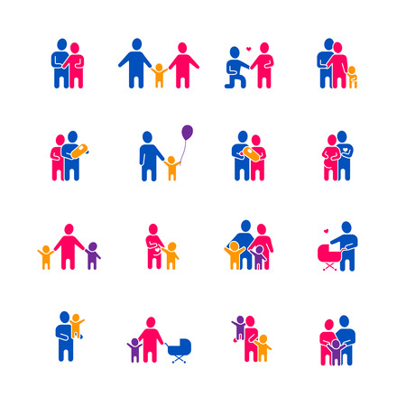 dating: Family icons set with parents children and love symbols flat isolated vector illustration