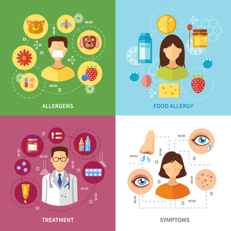 food allergy: Various allergy types symptoms and treatment flat style concept vector illustration