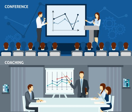 improving: Public speaking skills improvement for business people 2 flat horizontal banners composition poster abstract isolated vector illustration Illustration