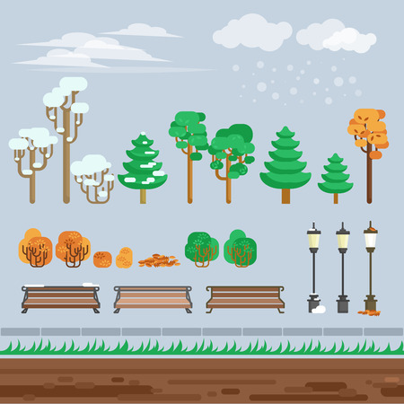 winter scene: Computer electronic video game 2d  winter scene background perspective with aisian style city park abstract vector illustration Illustration