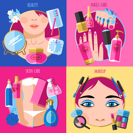 skin beauty: Beauty makeup face skin and nails care 4 flat icons square composition poster abstract isolated vector illustration Illustration
