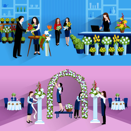 arch: Wedding party decorations and bouquets design florist online service 2 flat banners composition abstract isolated vector illustration Illustration