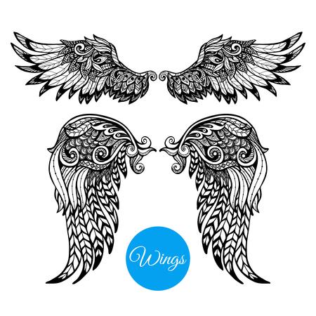 engel tattoo: Dekorative Fl�gel mit Hand gezeichneten Zierpflanzen Federn isolierten Vektor-Illustration festgelegt