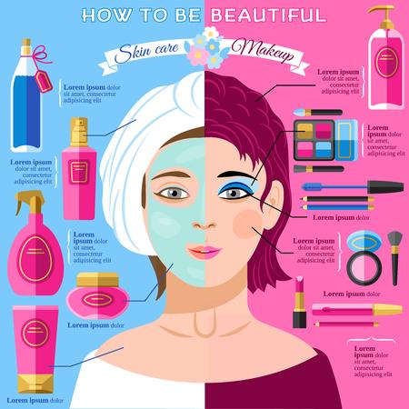 그림 문자 추상 벡터 일러스트와 함께 건강한 얼굴 피부와 아름다움 인포 그래픽 포스터 스킨 케어 및 메이크업 팁 일러스트