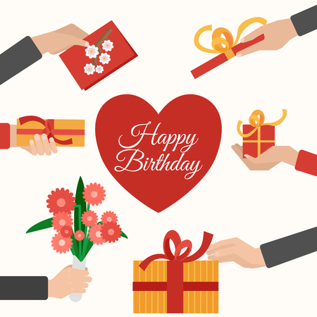giving: Happy birthday presents giving and receiving hands flat pictogram composition with heart symbol abstract vector isolated illustration