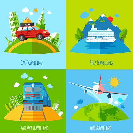 Vacation travel 4 flat icons square with ship rail aviation and land transport abstract isolated vector illustration