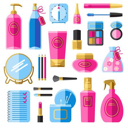 pulverizador: Accesorios de maquillaje para los iconos de cuidado del cabello y la cara plana establecidos con el pelo aerosol abstracto aislado ilustración vectorial Vectores
