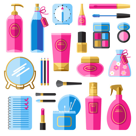 perfume spray: Makeup accessories for hair and face care flat icons set with hair spray abstract isolated vector illustration