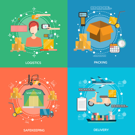 Logistics concept icons set with packing safekeeping and delivery symbols flat isolated vector illustration Çizim