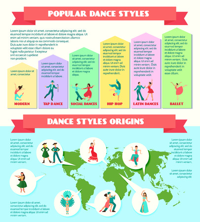 bellydance: Popular  styles and style origins with street theater ballroom traditional dance infographics vector illustration Illustration