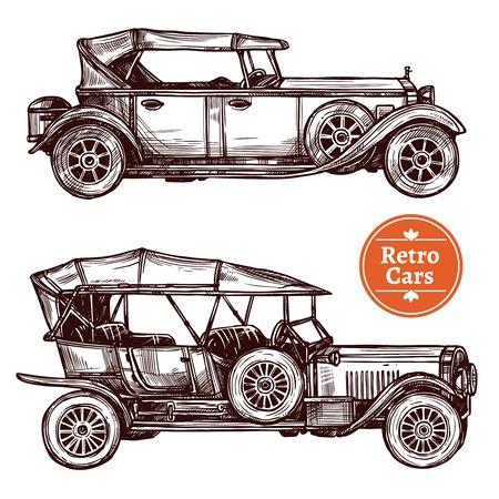 white car: Retro cars hand drawn decorative icons set isolated vector illustration
