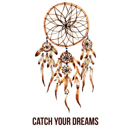 dreamcatcher: Native american indian magical dreamcatcher with sacred feathers to catch dreams watercolor pictogram icon abstract vector illustration