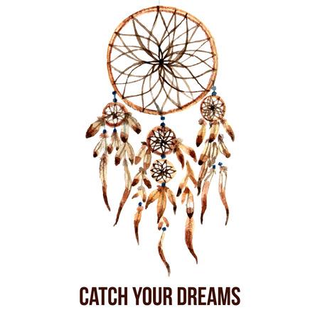 atrapasueños: Nativo americano Dreamcatcher mágico indio con plumas sagradas para atrapar icono de pictograma sueños acuarela abstracta ilustración vectorial