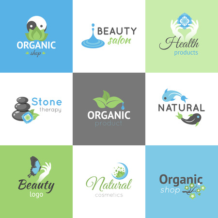 beauty shop: Beauty salon and organic products shop design logos set isolated vector illustration