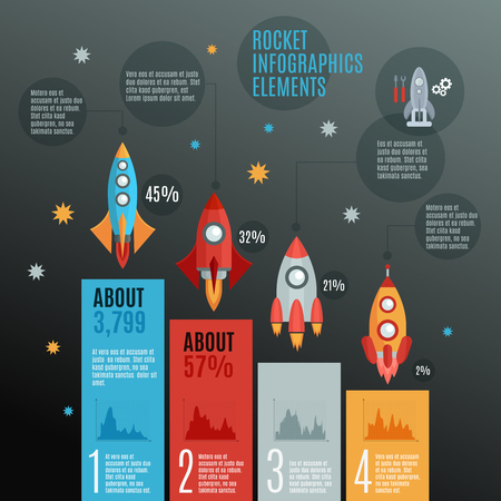 repairs: Rockets and launch Infographic set with repairs models and space flat vector illustration