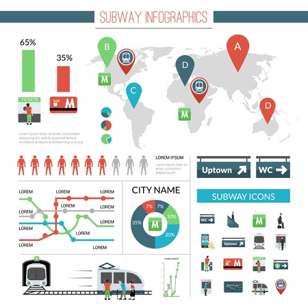 subway station: Subway infographics set with transport symbols and charts vector illustration Illustration