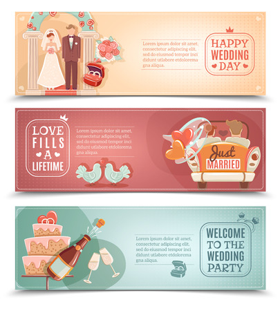 couple married: Vintage style wedding day party for just married couple flat horizontal banners set abstract isolated vector illustration Illustration