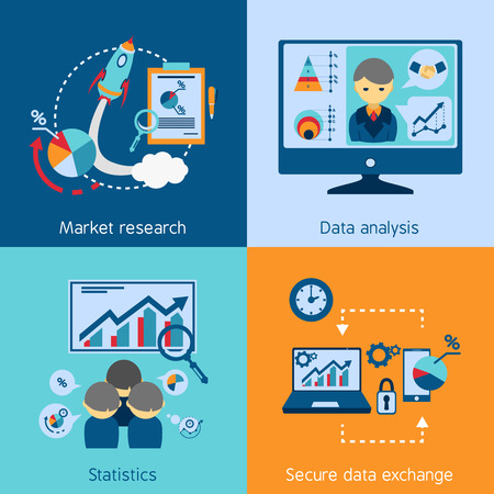market analysis: Market research statistic data analysis and exchange 4 flat icons square composition banner abstract isolated vector illustration