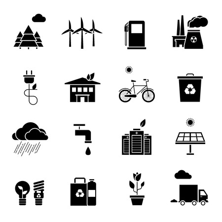 polls: Ecology black white icons set with environment and polls symbols flat isolated vector illustration Illustration