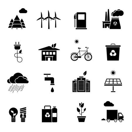 kwaśne deszcze: Ekologia czarno białe zestaw ikon z symboli środowiska i sondaże płaskie izolowane ilustracji wektorowych Ilustracja