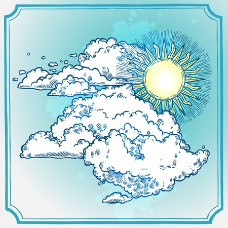 engrave: Sunny sky frame with retro style sketch sun and clouds vector illustration Illustration
