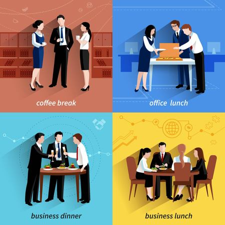 Business office lunch break and coffee pause 4 flat  icons  composition square banner abstract isolated vector illustration Иллюстрация
