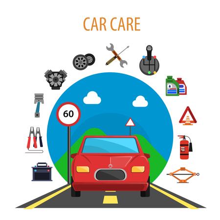 piezas coche: concepto de servicio de coches con el automóvil en el conjunto ilustración vectorial de la carretera y de la máquina de piezas de repuesto iconos planos