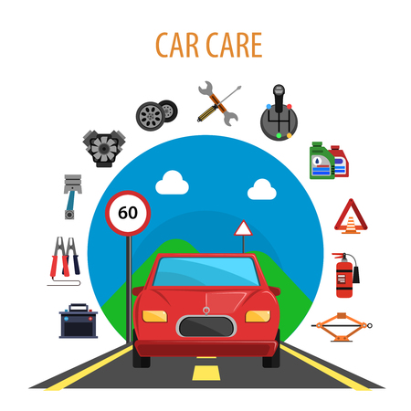 Car service concept with auto on the road and machine spare parts flat icons set vector illustration Illustration