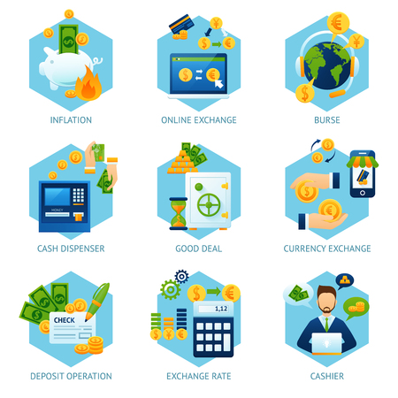 Currency exchange concept set with inflation cash dispenser deposit operation icons isolated vector illustration