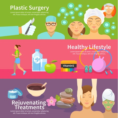 face surgery: Rejuvenation horizontal banner set with plastic surgery treatments and healthy lifestyle flat elements isolated vector illustration
