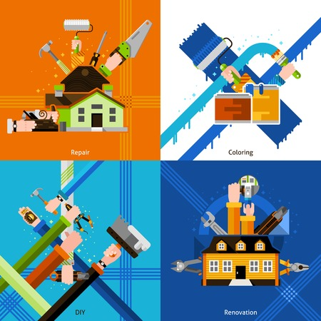 repair men: DIY design concept set with repair tools flat icons isolated vector illustration