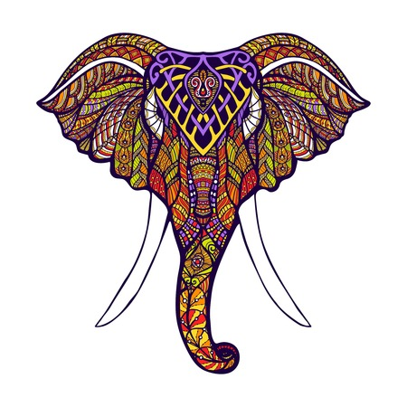 색깔의 화려한 손으로 그린 벡터 일러스트와 함께 전면보기 코끼리 머리 일러스트