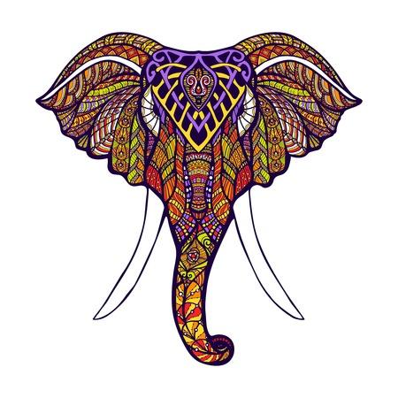 Vooraanzicht olifant hoofd met gekleurde sierlijke hand getrokken vector illustratie