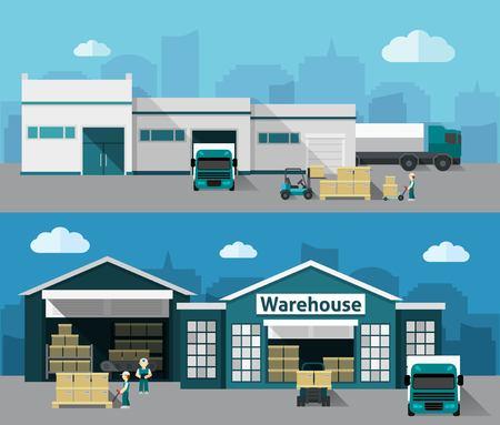 edificio industrial: Edificio de almacén y proceso de envío plana horizontal aislado Conjunto de la bandera ilustración vectorial