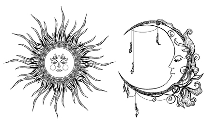 bocetos de personas: Decorativo sol y la luna con la cara antropomórfica dibujado a mano ilustración vectorial aislado