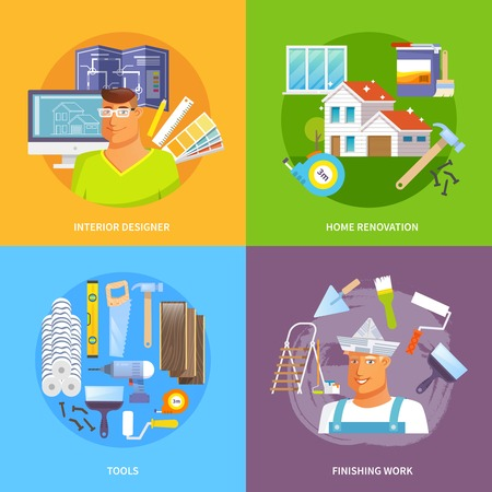 finishing: Renovation design concept set with interior designer and work tools flat icons isolated vector illustration