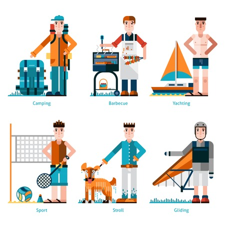 gliding: Summer rest icons set with people camping yachting and gliding isolated vector illustration