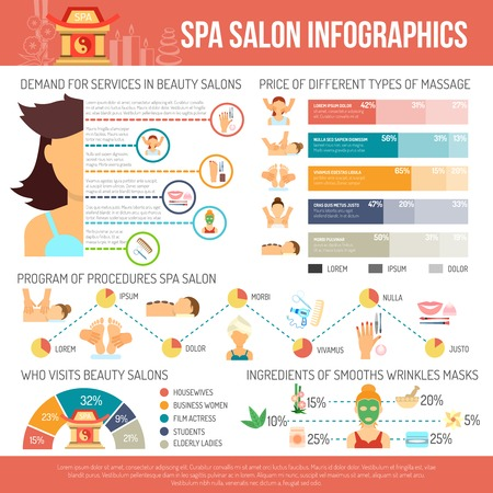 hair mask: Spa salon infographics set with beauty care symbols and charts vector illustration