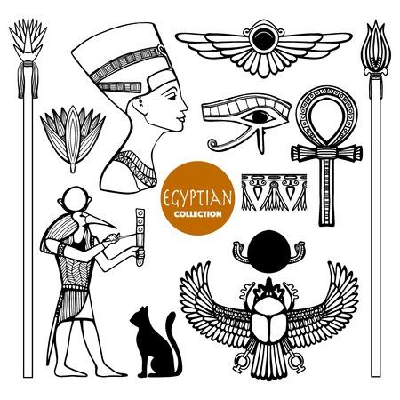 esfinge: Egipto establece con símbolos antiguos dioses y adornos aislados ilustración vectorial Vectores
