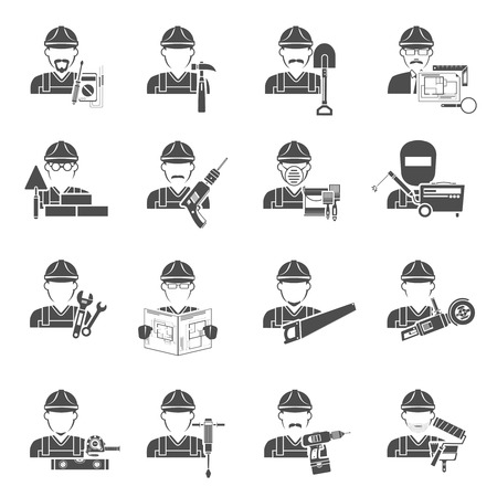 Worker icons black set with painter lumberjack and labor avatars isolated vector illustration Stock Illustratie