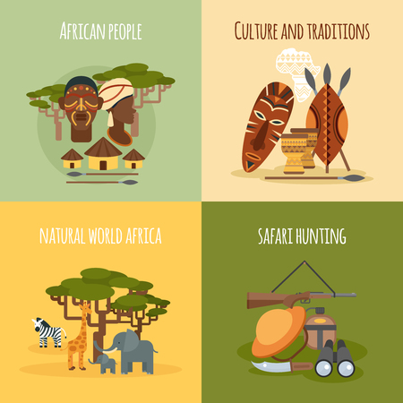 traditions: African world people traditions   hunting 4 flat icons square composition banner abstract isolated vector illustration