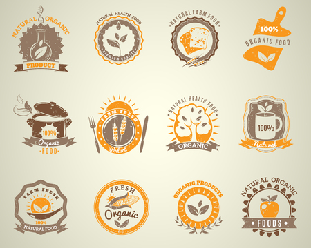 ecologically: Traditionally ecologically grown and environmentally friendly produced organic food vintage labels collection set abstract isolated vector illustration