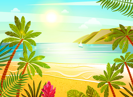 opulent: Tropical beach exotic summer vacation travel poster with sea view palms and flowers flat abstract vector illustration