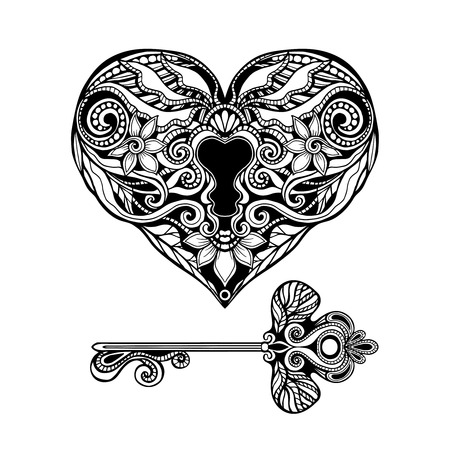 antique keyhole: Decorative heart shape key and vintage lock hand drawn isolated vector illustration Illustration