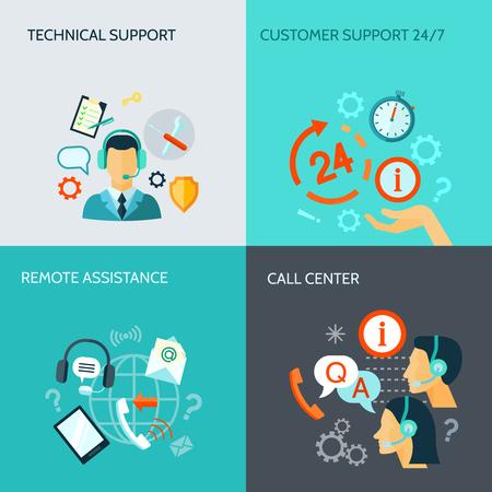 リモート アシスタンスの技術的なサポートし、コール センター フラット スタイル バナー分離ベクトル図