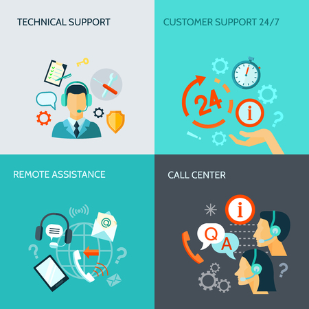 Remote assistance technical support and call center flat style banners isolated vector illustration